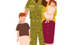 soldier and his wife and kids