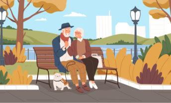 elderly sitting at a park