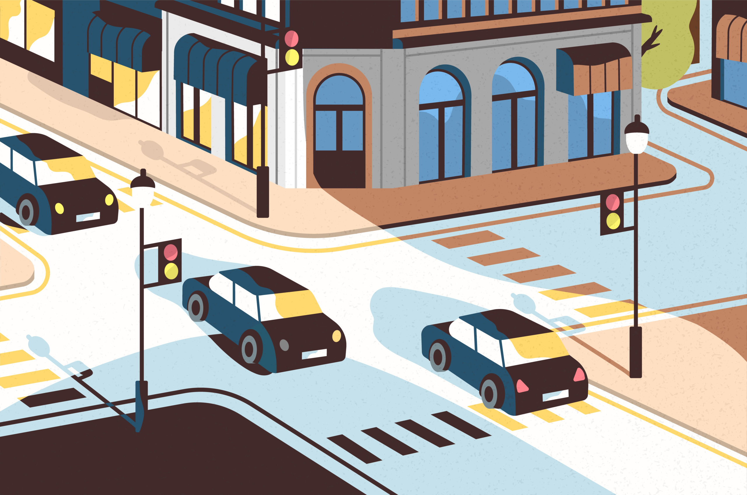 cars passing through an intersection