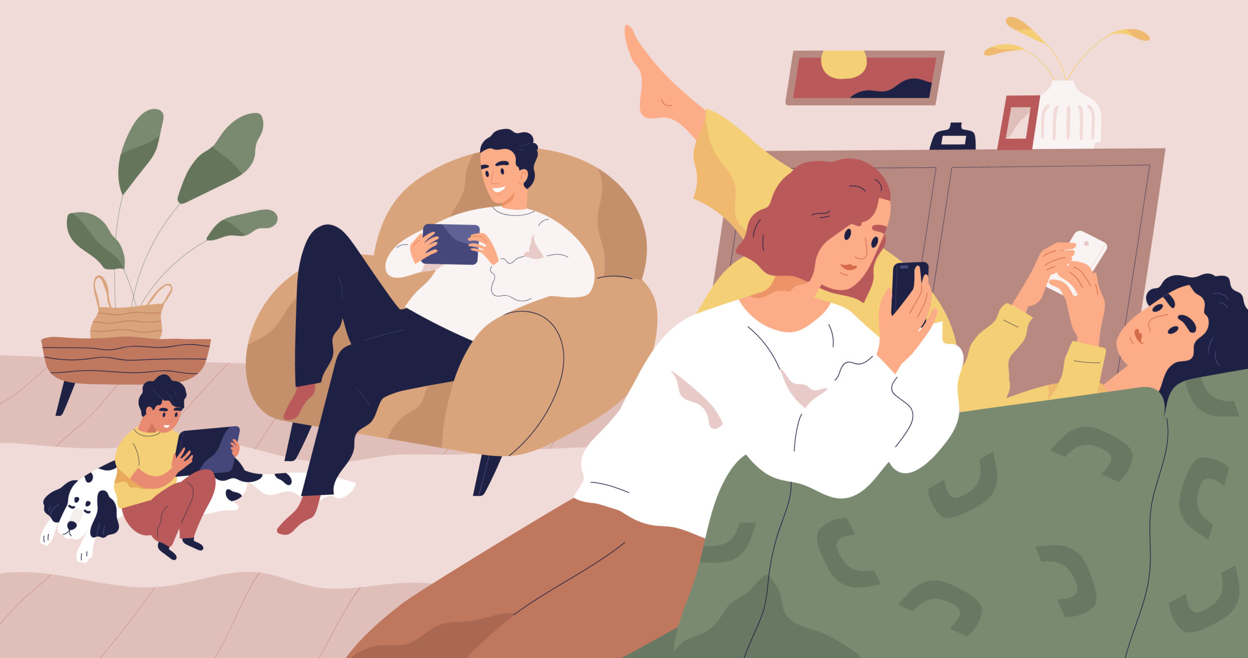 people on phones in an apartment