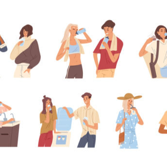 different people drinking water