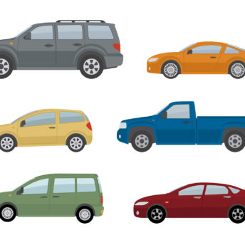 Collection of different cars. Isolated on white background.