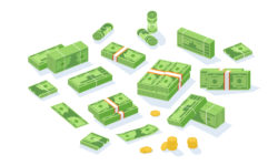 different assortments of money