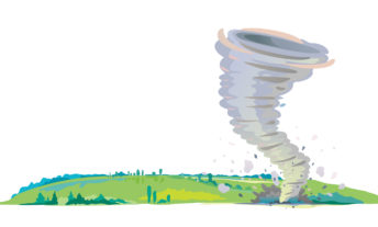Tornado on the field isolated